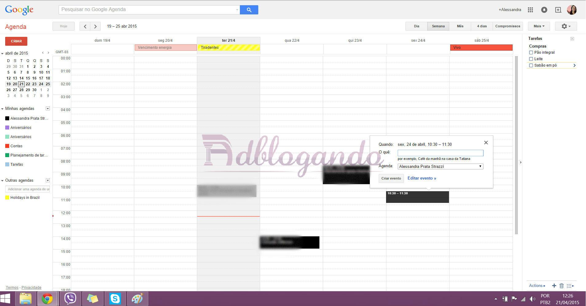 Criando compromissos na Google Agenda